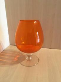Vintage 70s Retro Orange Balloon Brandy Vase
