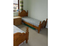 2 x Identical Single Pine beds, good condition, been used in our guest room.