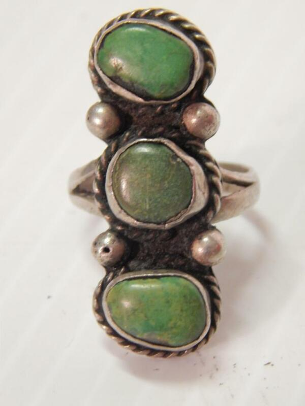 ANTIQUE VINTAGE NAVAJO INDIAN STERLING SILVER TURQUOISE  RING  - EARLY- sz 6 3/4