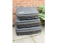 Delsey Nest of 3 suitcases strong hard shell Anthracite grey wheels used