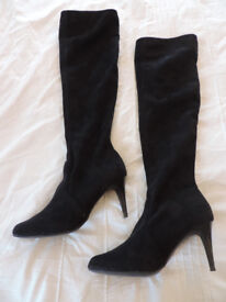 Ladies Black Suede High Heeled boots from Next Eur 40/UK 6.5