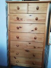 Set of 5 pine drawer units / bedside cabinets.