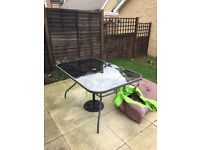 Garden Furniture Set (Homebase) with 6 Reclining Chairs 2 Foot Stools 1 Side Table & Umbrella