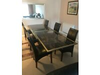Dining table and 6 chairs with matching coffee table and end table
