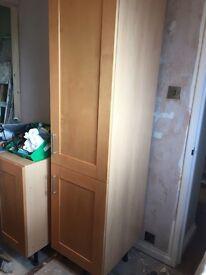 Tall kitchen cupboard with 2 doors and 2 internal shelves beech carcass and birch doors