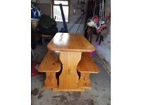 Pine table and chairs