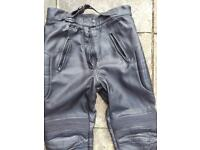 Black Leather Motorcycle Trousers