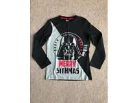 BRAND NEW WITH TAG F&F STAR WARS 'MERRY SITHMAS' CHILDRENS CHRISTMAS TOP SIZE 9-10 YEARS