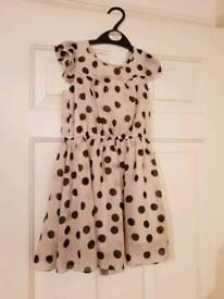 Girl's Cream/Black Chiffon Dress
