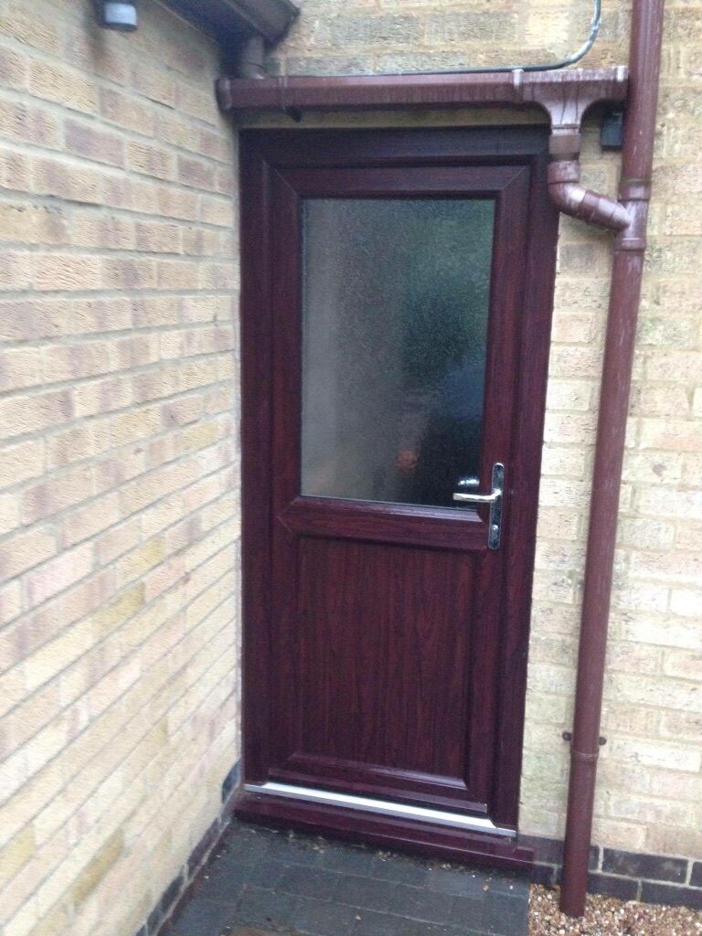 Upvc Back Door Rosewood Outside White Inside Less Than A