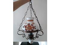 Oil Lamp style cottage ceiling light, bronze coloured metal finish with ceramic shade