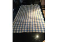 Blue checked lined curtains