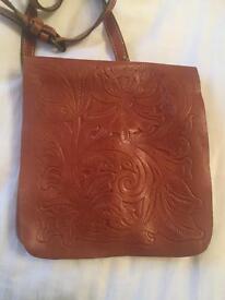 Tan leather crossbody bag