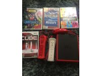 Wii mini console with controllers and 4 games