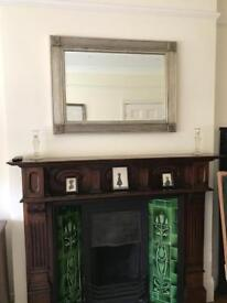 Overmantle silver wooden framed Art Deco inspired mirror 70x95 cms