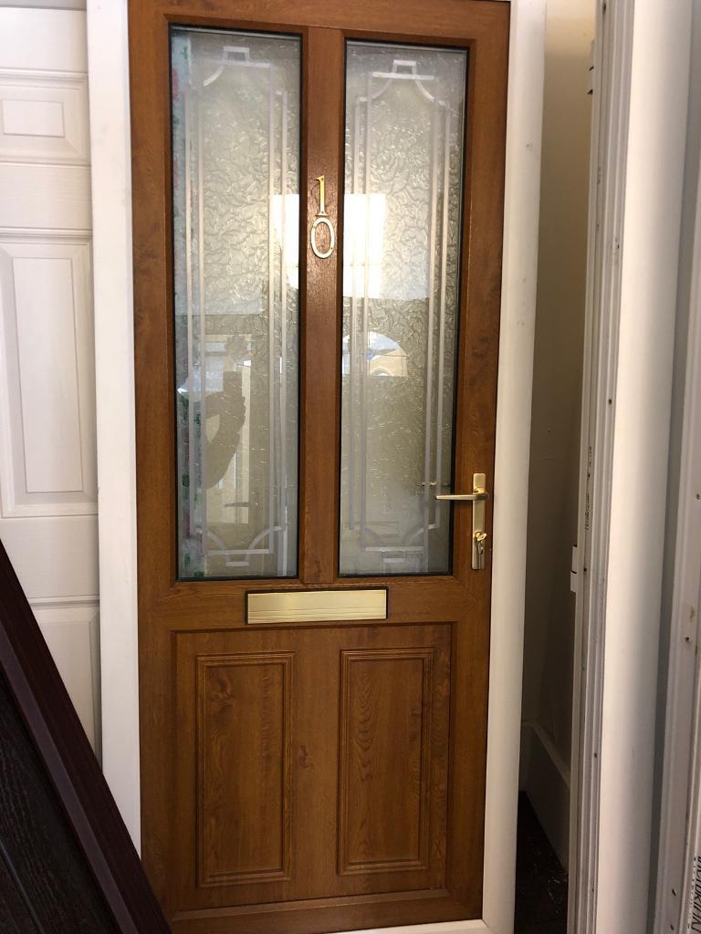 Upvc Front Door Golden Oak White Outer Frame In