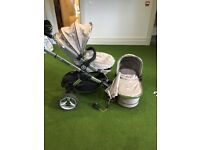 Icandy peach silver mint, pram, carry cot, foot muff, parasol