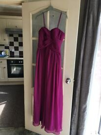 Cerise Pink Maxi Evening Dress / Gown with Removable Straps Size 6-8