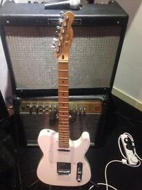 Mexican fender telecaster in white with gig bag