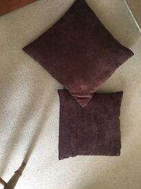 2 medium sized pillows: brown