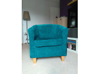 Dunelm Mill Maurice Tub Chair in Teal Chenille - Barely used like new