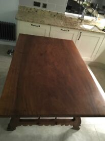 Spanish walnut dining table with bronze supports - 6 seater - antique- vintage - retro