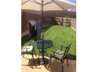 Garden Bistro Table, Chairs (x2) and Cream Parasol with Base