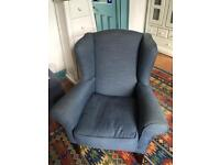 Blue Wing Back Armchair
