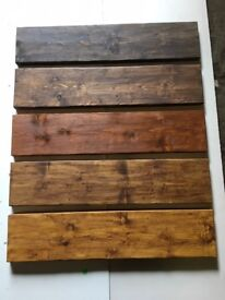 HAND MADE RUSTIC WOODEN SHELVES VARIOUS SIZES AND COLOURS WITH STEEL BRACKETS