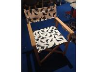 John Lewis Directors Chair, Cream with black and white bird print rrp £75
