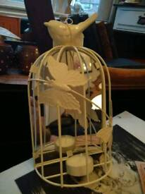 Half mirrored tea light holder ,birdcage