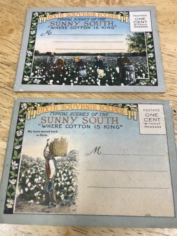 Sunny South post card Dixie Souvenir  folders Set of two Very Nice
