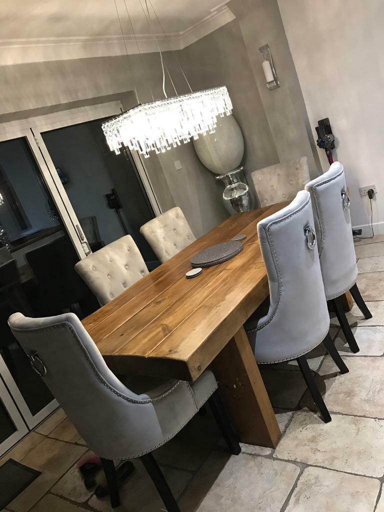 Full dining table set solid wood plush velvet chairs ...
