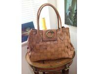 Brown Leather Plated/Woven handmade handbag