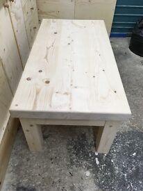 Choose your finish handmade chunky solid wood coffee table