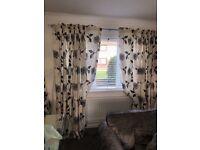 Ivory taffeta/faux sill & black flocked curtains 90x90