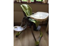 Chicco Polly Double Phase highchair in good condition with removable trays and instructions.