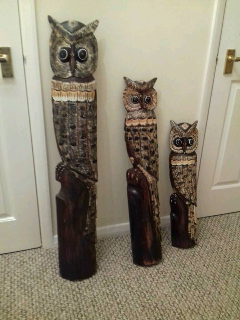WOOD CARVED OWLS (REDUCED for quick sale )