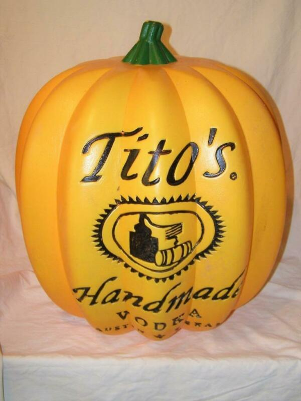 """Very Large Tito's Vodka Advertising Pumpkin For Bar or Man Cave 21"""" x 19"""" x 19"""""""