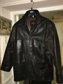 Lovely Men's Vintage Real Leather Dark Brown Classic Style Jacket - Large