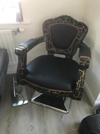Hairdresser barbers chair black and gold