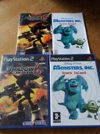 PS2 Computer games - Shadow the Hedgehog & Monsters Inc Scare Island - excellent condition