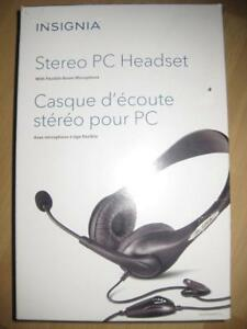 Insignia Headset / Headphones. Boom Mic. Comfortable. Use with Laptop Computer Desktop / Samsung Galaxy Phone / iPhone