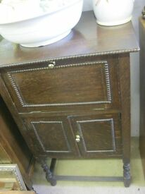 VINTAGE ORNATE SMALL BEADED STYLE CABINET.DRAWER OVER TWIN CABINET DOORS. VIEW/DELIVERY AVAILABLE