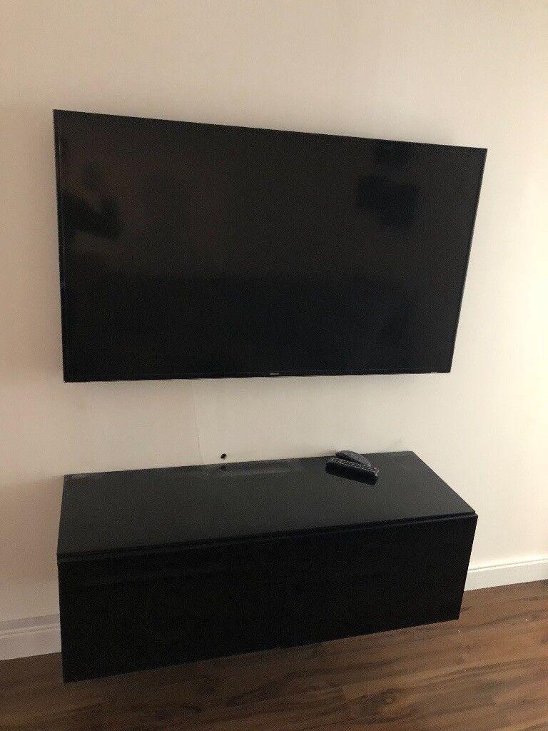 Ikea Besta Black Tv Bench Storage Unit Stand Cabinet