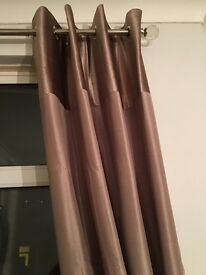 Next mink silk and velvet header curtains 53x90
