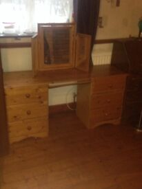 Pine Dressing Table With Mirror In Good Condition Used
