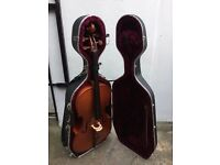 Full-sized student cello with bow and case with shoulder straps