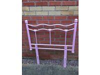 Girls Pink Metal Headboard for single bed