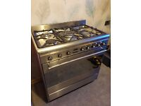 Smeg 80cm dual fuel range cooker. Gas hob, fan assisted electric oven. Excellent condition!